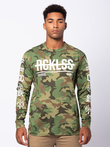 Young and Reckless Mens - Tees - Long Sleeve Strike Thru Long - Camo