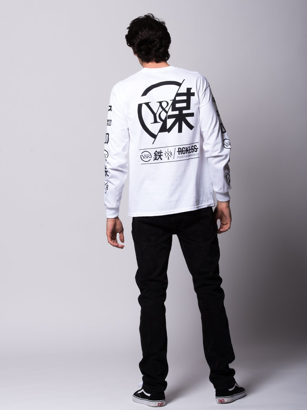 Young and Reckless Mens - Tees - Long Sleeve Strike Thru Long Sleeve - White/Black
