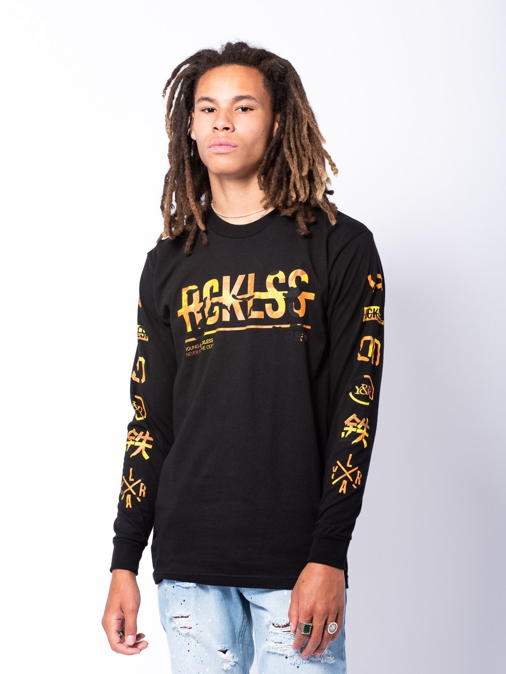 Young and Reckless Mens - Tees - Long Sleeve Strike Thru Long Sleeve - Yellow Camo