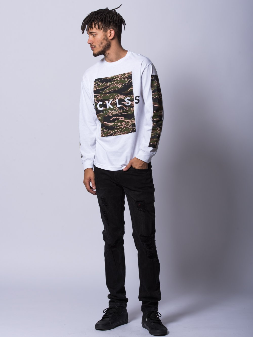 Young and Reckless Mens - Tees - Long Sleeve Undercover Long Sleeve- White