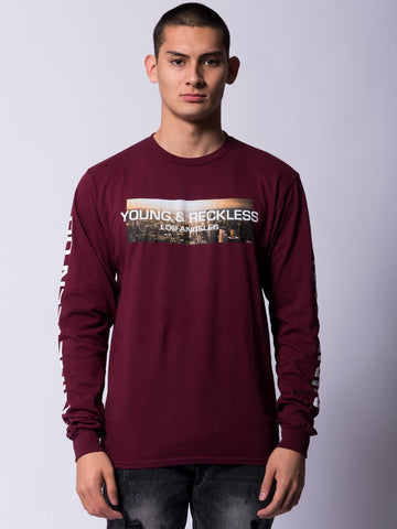 Young and Reckless Mens - Tees - Long Sleeve Uptown Long Sleeve Tee- Burgundy