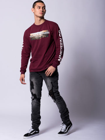Uptown Long Sleeve Tee- Burgundy