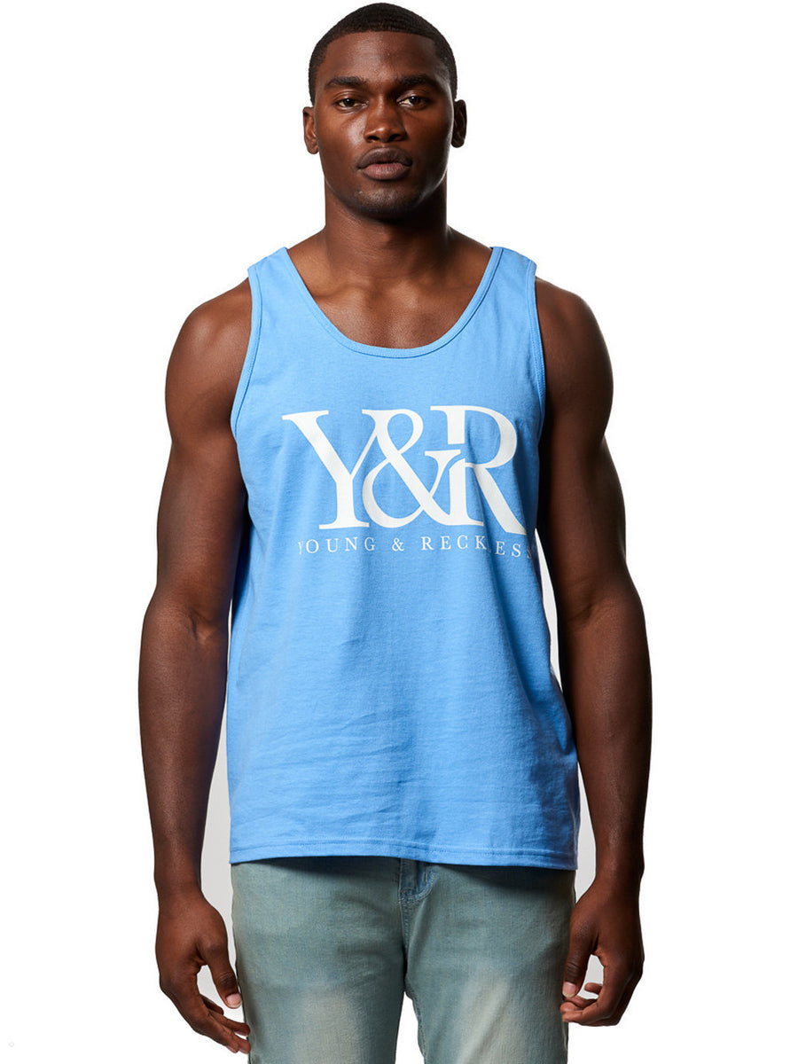 Young and Reckless Mens - Tops - Tanks Boxed Out Tank Top- Carolina Blue S / CAROLINA BLUE