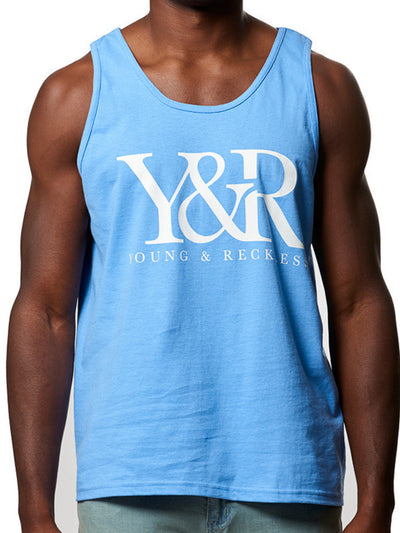 Young and Reckless Mens - Tees - Tank Tops Boxed Out Tank Top- Carolina Blue