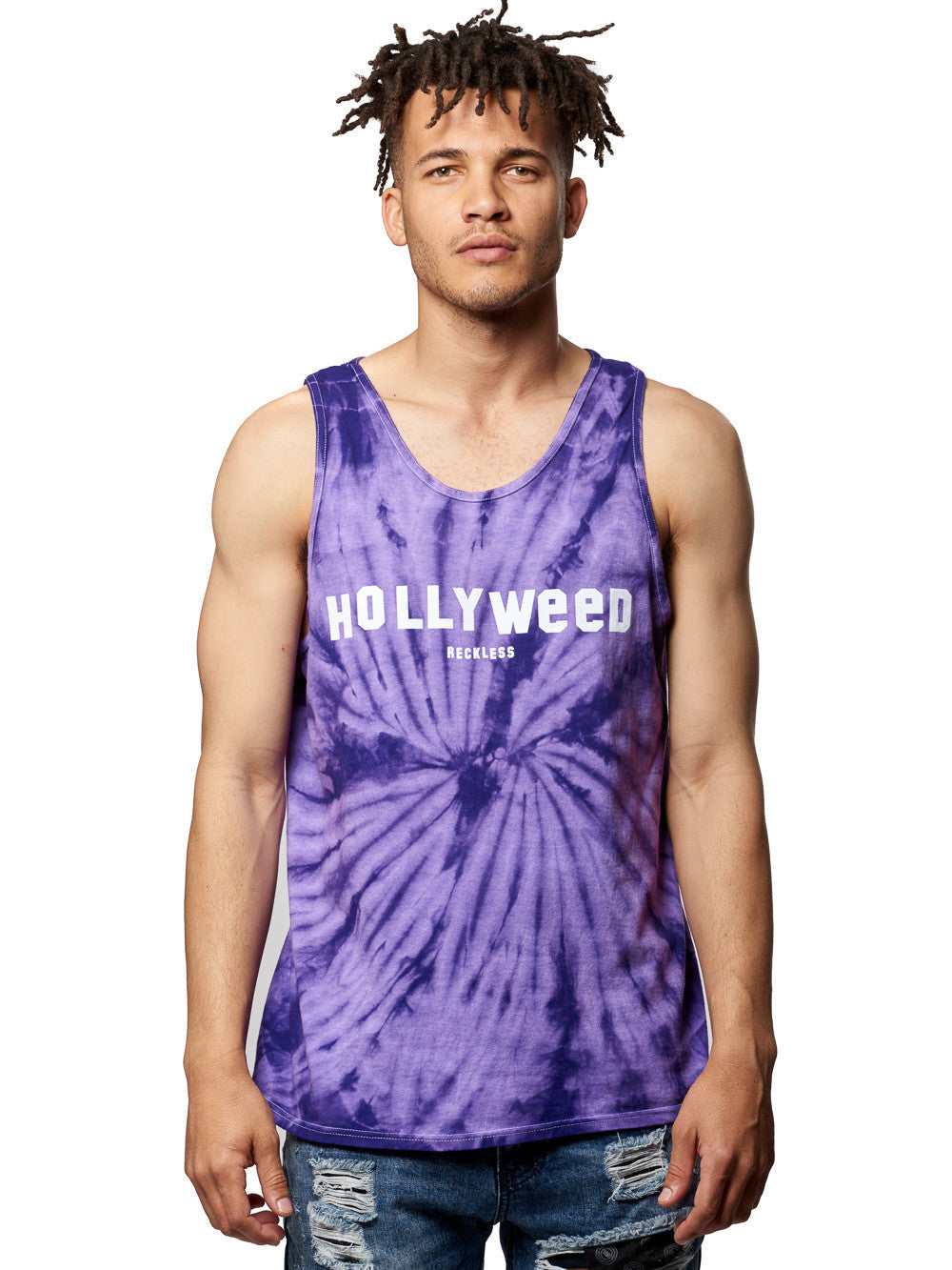 Young and Reckless Mens - Tees - Tank Tops Hollyweed Tank- Purple Tie Dye