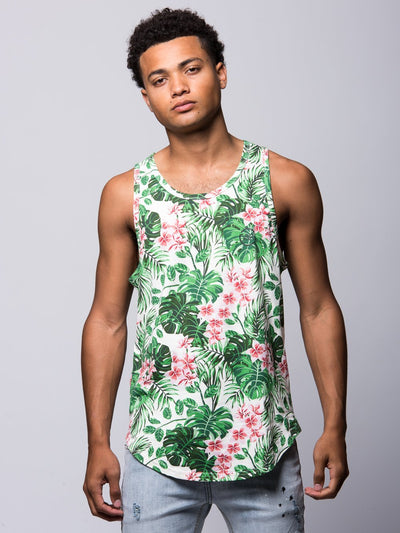 Young and Reckless Mens - Tees - Tank Tops Mini Loop Tropical Tank Top - Tropical Green