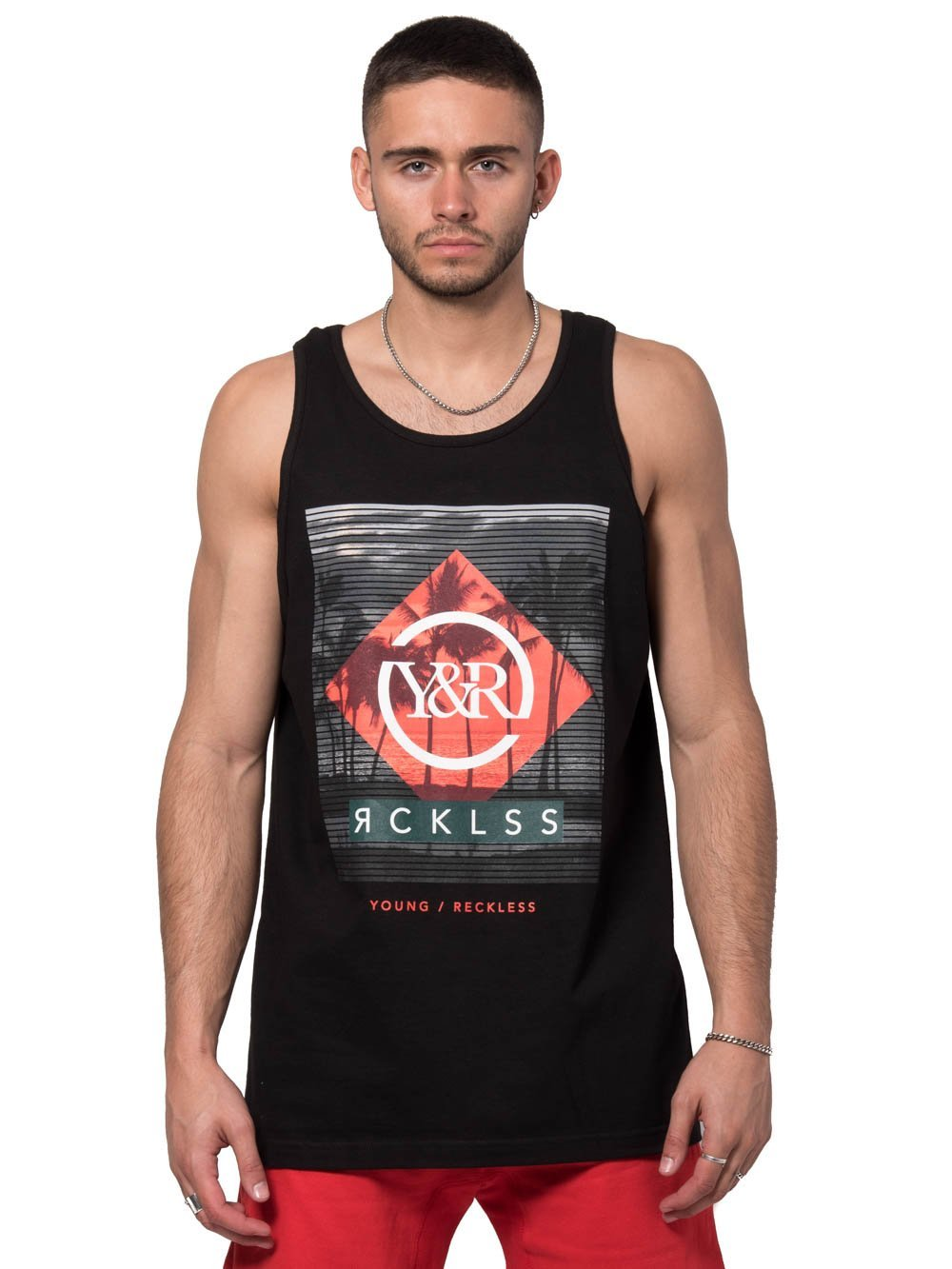 2ae861b87f308 Young and Reckless Mens - Tees - Tank Tops Sliced Palms Tank Top - Black