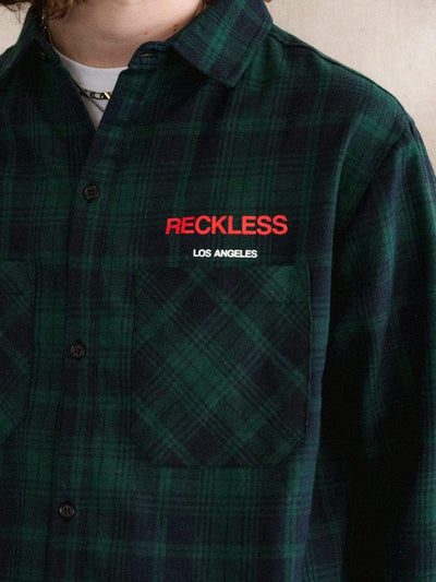 Young and Reckless Mens - Tops - Basic Tee Endless Bliss Flannel - Green
