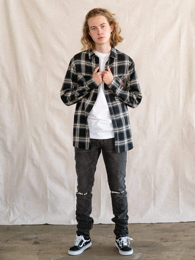 Young and Reckless Mens - Tops - Buttoned Tops Contour Flannel Shirt - Black