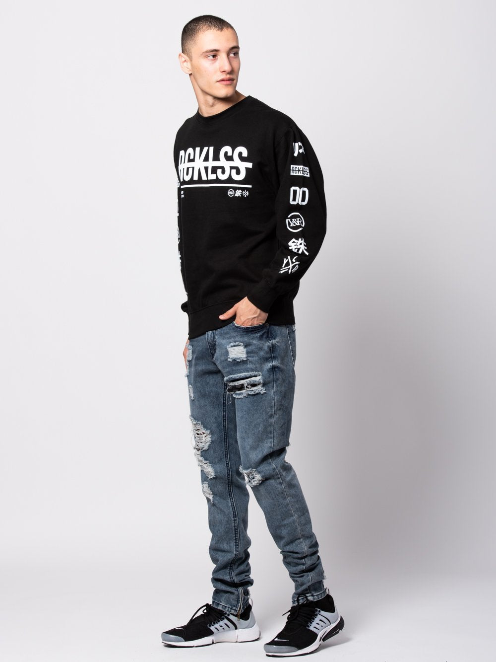 Young and Reckless Mens - Tops - Crewnecks Kyoto Crewneck Sweater - Black/White