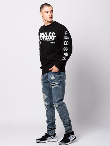 Kyoto Crewneck Sweater - Black/White
