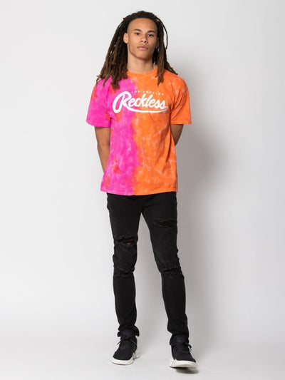 Young and Reckless Mens - Tops - Graphic Tee Big R Script Tee - Orange/Pink Tie Dye S / ORANGE/PINK TIE DYE