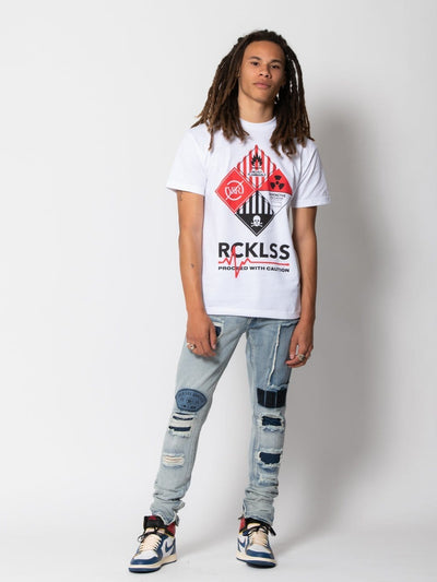 Young and Reckless Mens - Tops - Graphic Tee Caution Tee - White S / WHITE