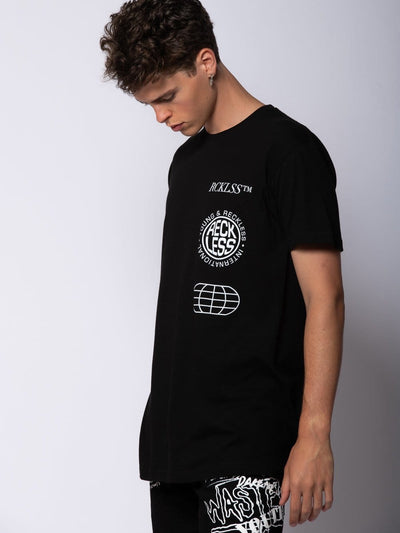 Young and Reckless Mens - Tops - Graphic Tee Conquer Tee - Black