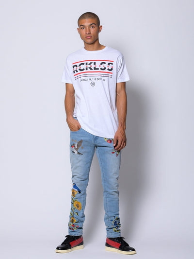 Young and Reckless Mens - Tops - Graphic Tee Coordinates Tee - White