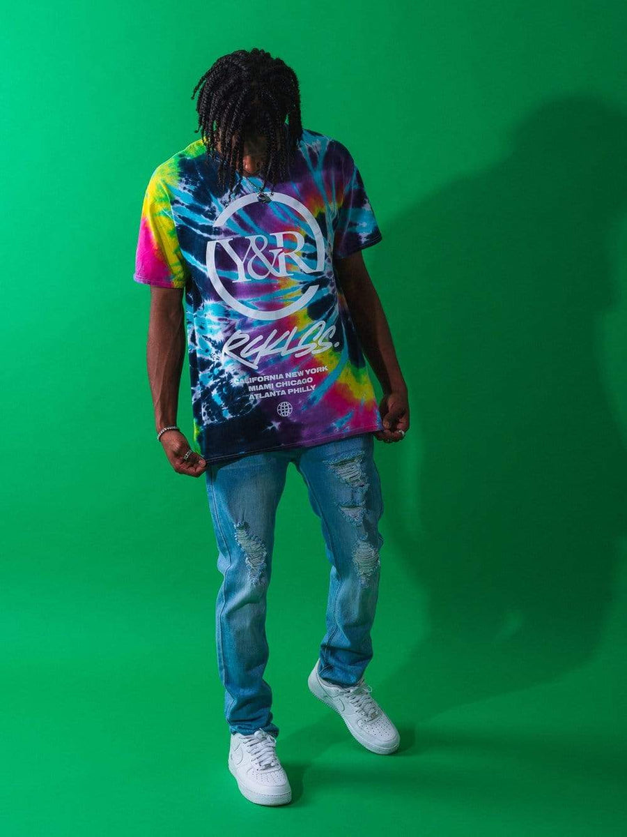 Young and Reckless Mens - Tops - Graphic Tee Deface Tee - Tie Dye