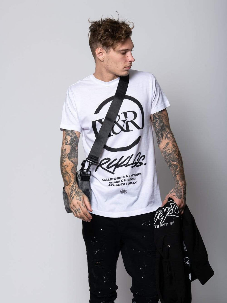Young and Reckless Mens - Tops - Graphic Tee - Deface Tee - White