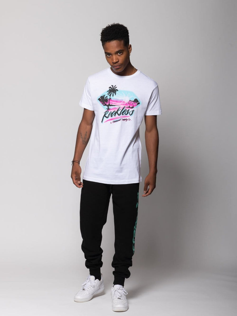 Young and Reckless Mens - Tops - Graphic Tee Diamond Sunset Tee - White