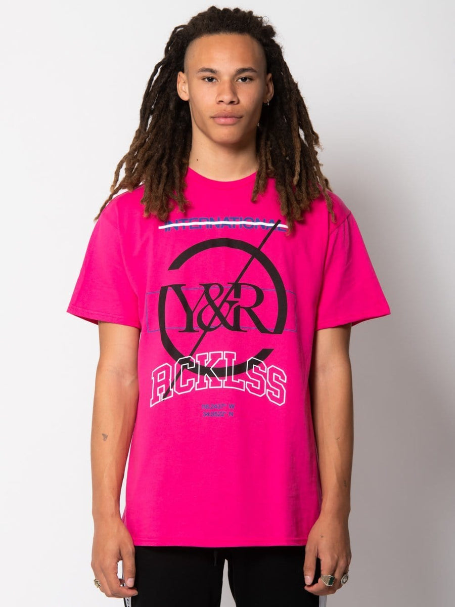 Young and Reckless Mens - Tops - Graphic Tee Distinct Tee - Hot Pink S / HOT PINK