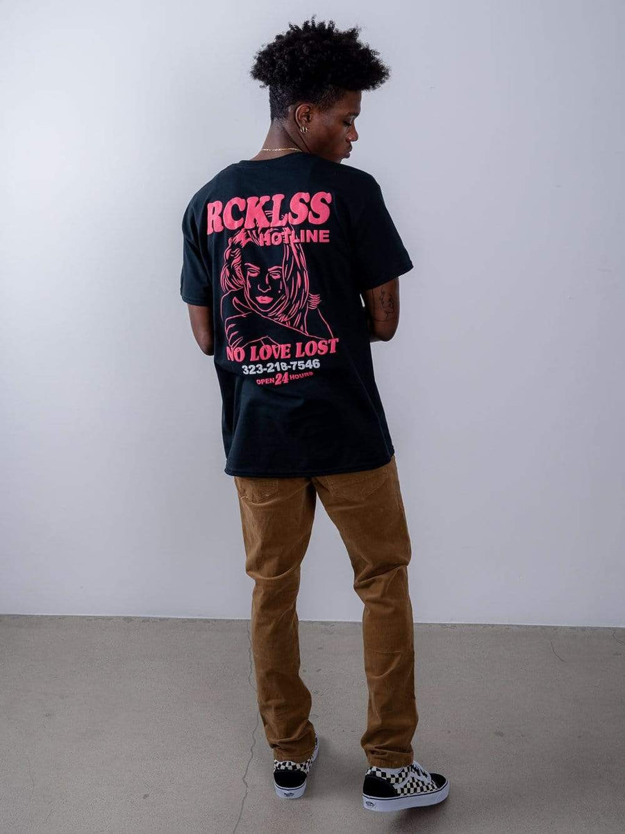Young and Reckless Mens - Tops - Graphic Tee Hotline Tee - Black