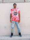 Young and Reckless Mens - Tops - Graphic Tee Houston Rockets Full Court Tie Dye Tee - Red