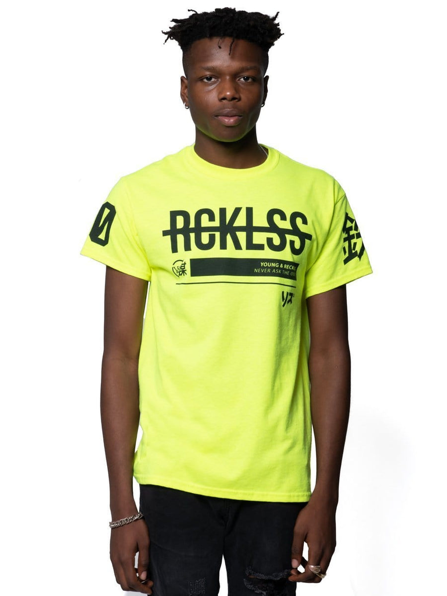 dfd04d73 Young and Reckless Mens - Tops - Graphic Tee Kyoto Tee - Safety Green S /