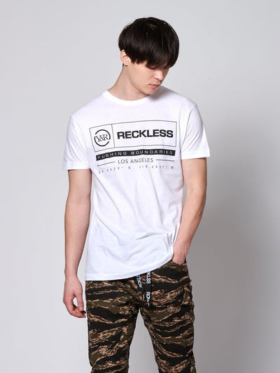 Young and Reckless Mens - Tops - Graphic Tee Latitude Tee - White