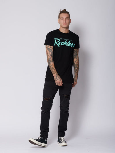 Young and Reckless Mens - Tops - Graphic Tee OG Reckless Tee - Black/Ice