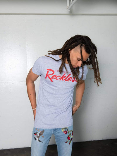 Young and Reckless Mens - Tops - Graphic Tee - OG Reckless Tee - Grey and Red
