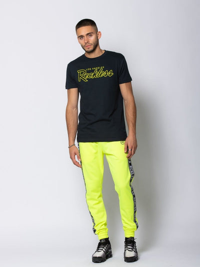 Young and Reckless Mens - Tops - Graphic Tee OG Reckless Tee - Navy/Safety Green
