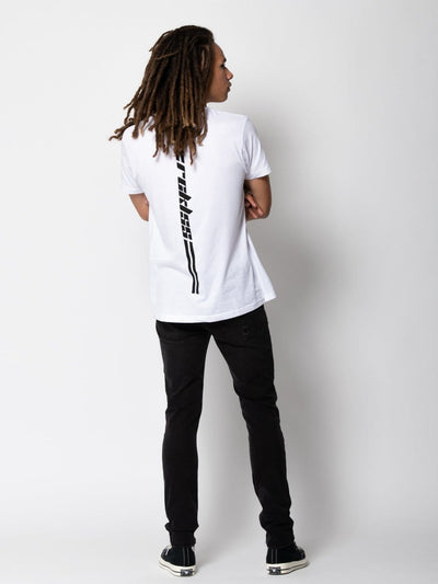 Young and Reckless Mens - Tops - Graphic Tee Racer Tee - White/Black S / WHITE