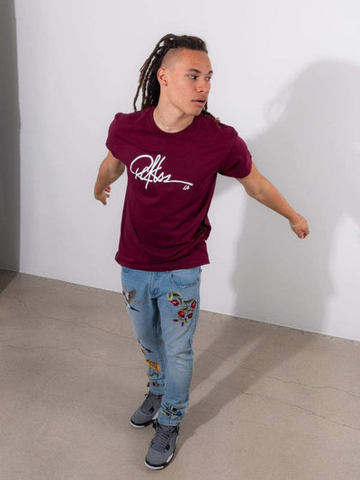 Young and Reckless Mens - Tops - Graphic Tee - Signature Tee - Burgundy