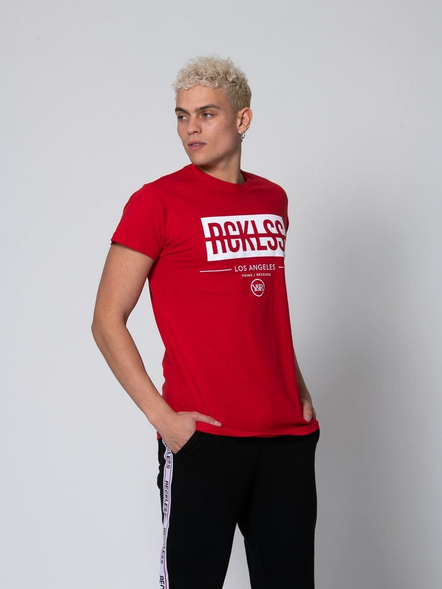 Young and Reckless Mens - Tops - Graphic Tee Strike Box Tee - Red