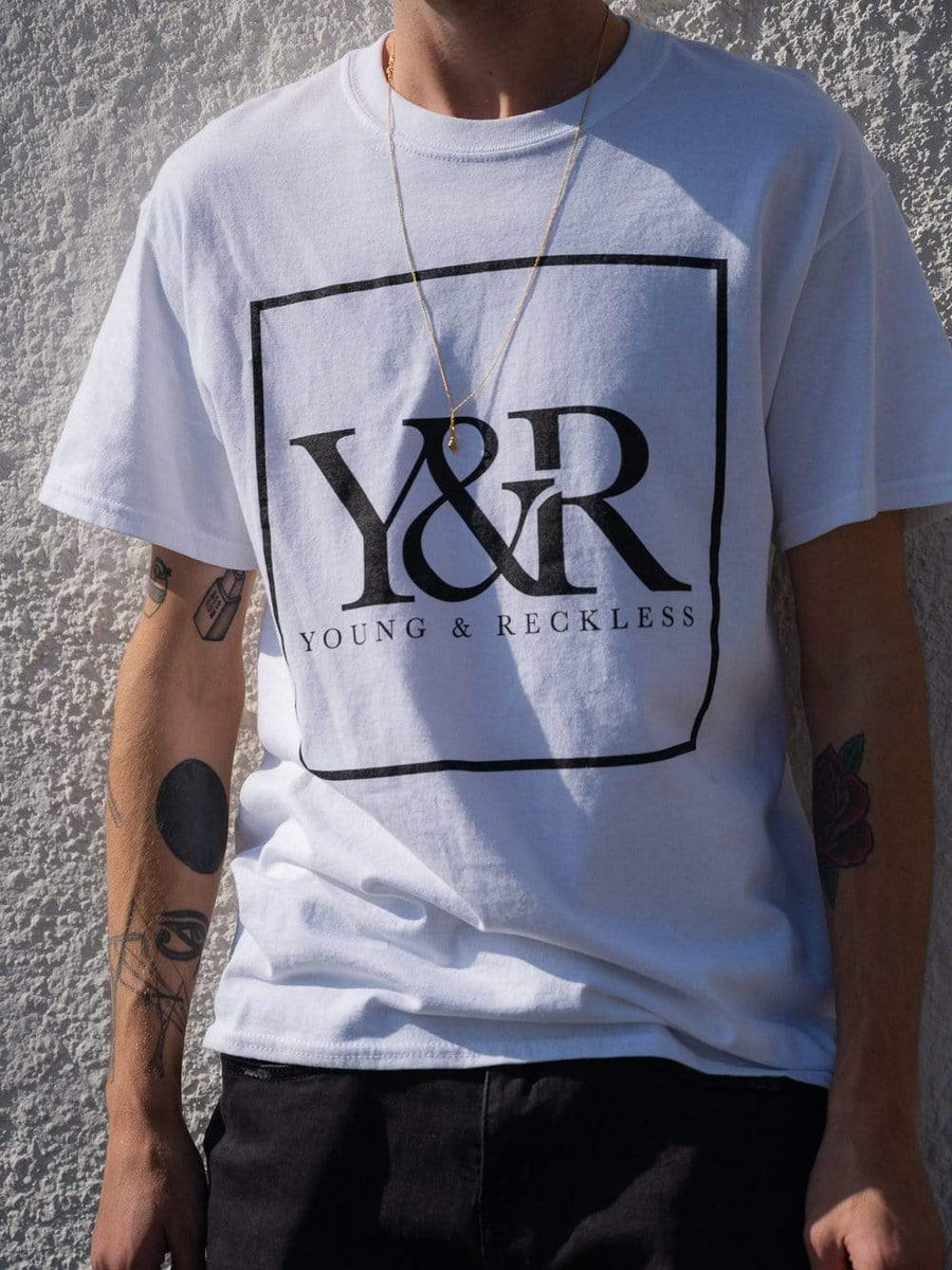 Young and Reckless Mens - Tops - Graphic Tee Trademark Box Tee - White