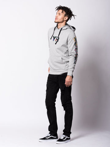 Botanic Embroidered Hoodie - Heather Grey