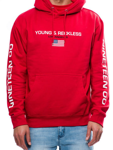 Young and Reckless Mens - Tops - Hoodies Charter Hoodie- Red
