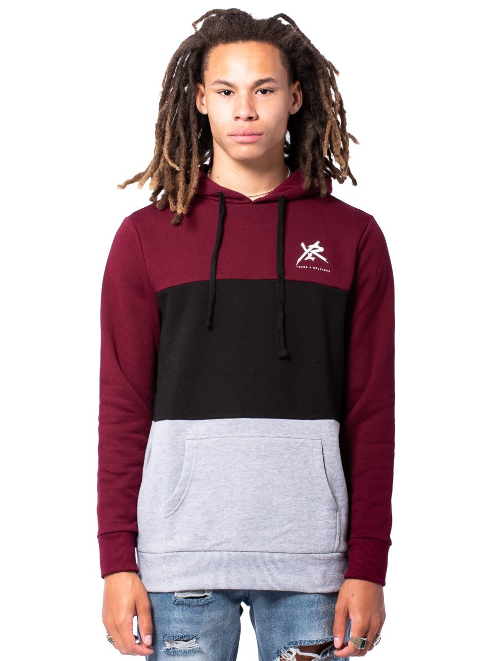 Young and Reckless Mens - Tops - Hoodies Compound Hoodie - Burgundy/Grey