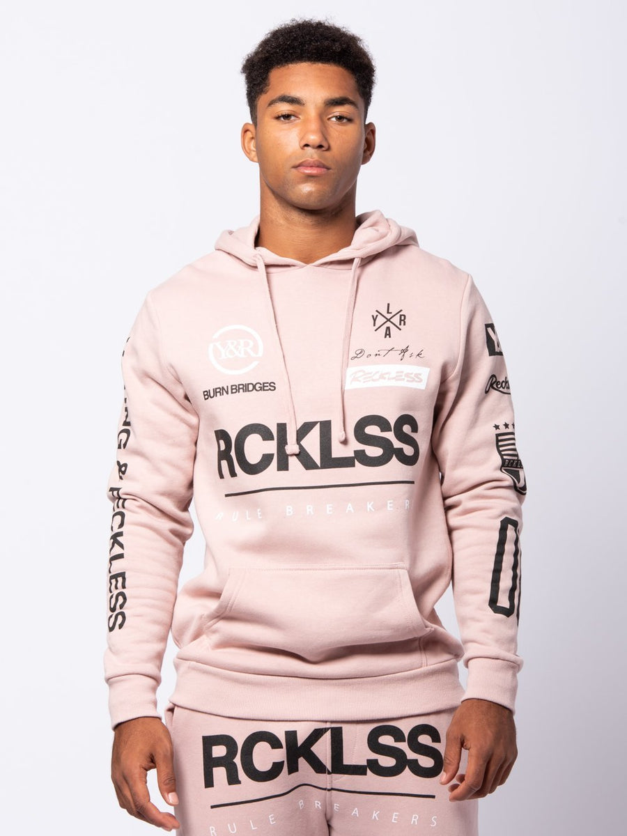 Young and Reckless Mens - Tops - Hoodies Fast Track Hoodie - Rose