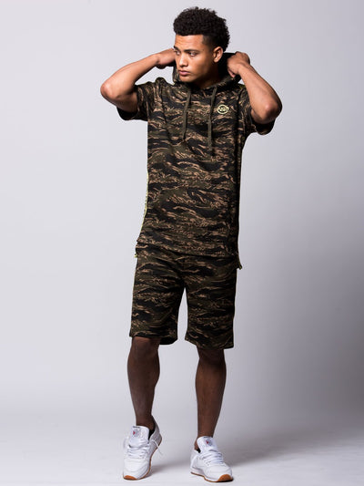 Young and Reckless Mens - Tops - Hoodies Highlander Short Sleeve Hoodie - Tiger Camo