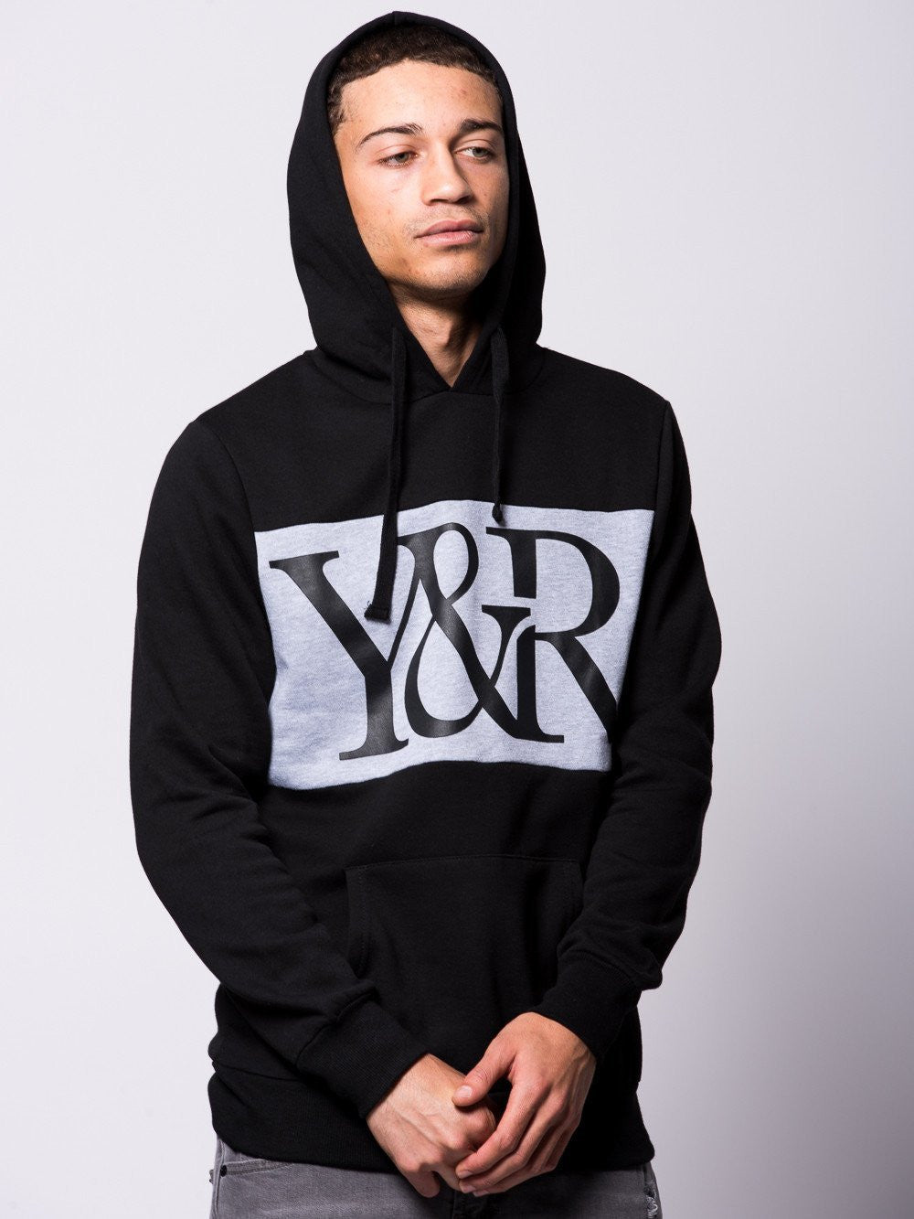 Young and Reckless Mens - Tops - Hoodies Hybrid Hoodie- Black/Grey