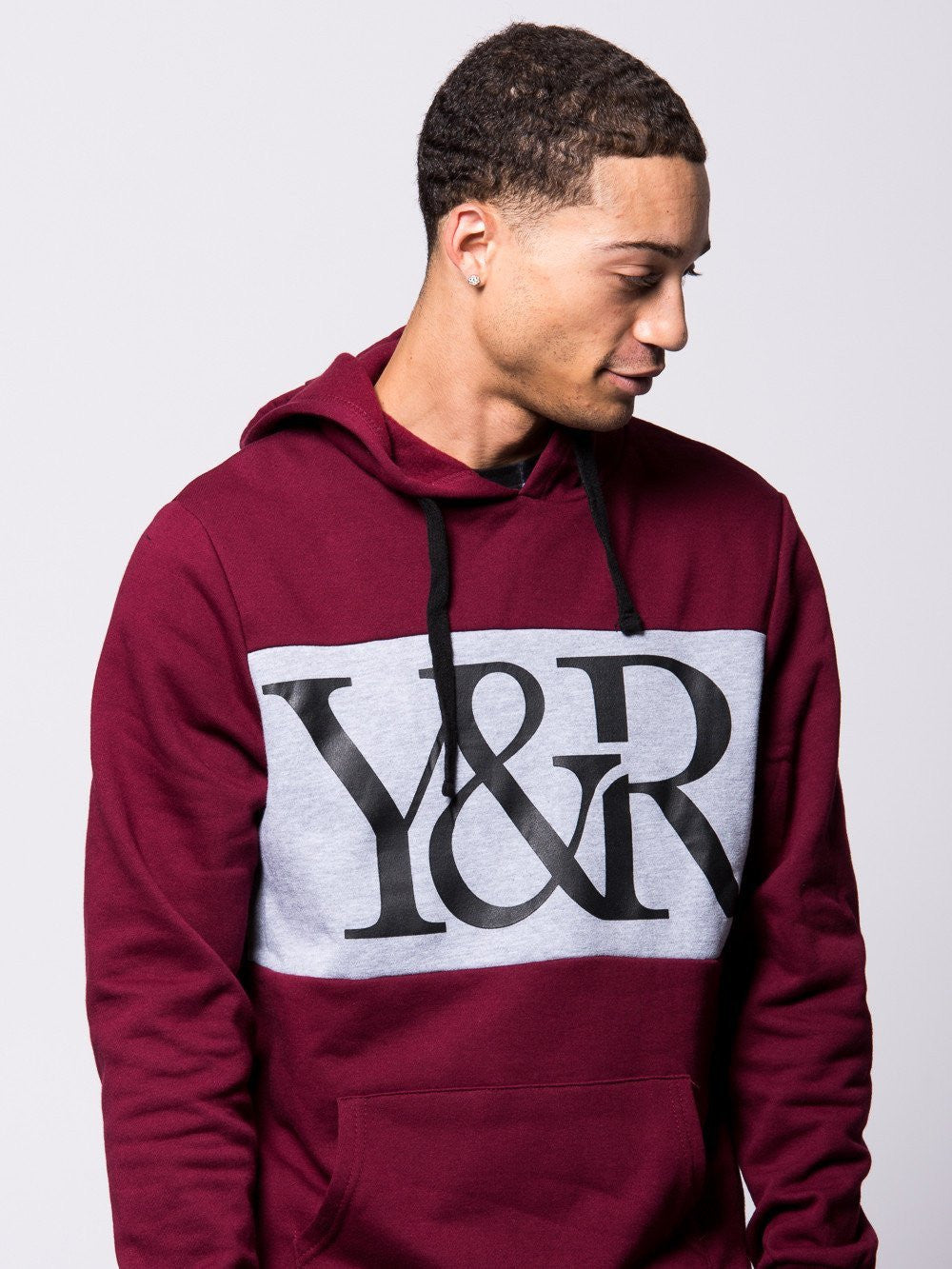 Young and Reckless Mens - Tops - Hoodies Hybrid Hoodie- Maroon/Grey