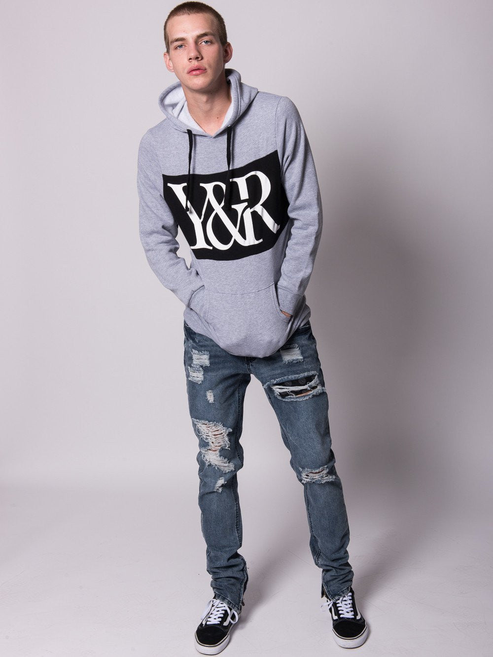 584d5e05 ... Young and Reckless Mens - Tops - Hoodies Hybrid Pullover Hoodie-  Heather Grey ...