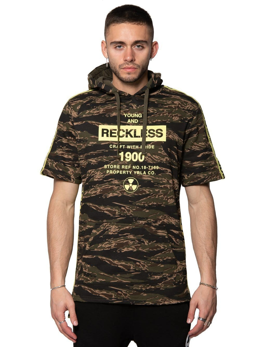 233a790a22c58 Young and Reckless Mens - Tops - Hoodies Invincible Short Sleeve Hoodie -  Camo S