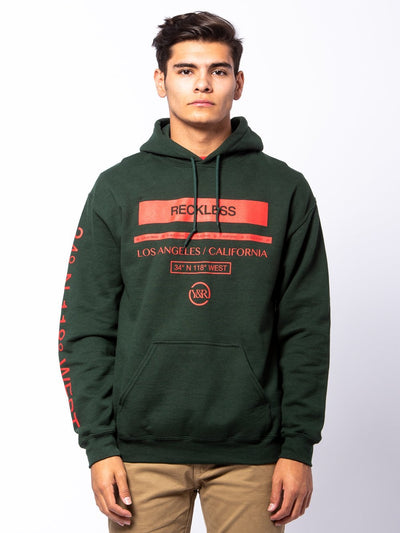 Young and Reckless Mens - Tops - Hoodies Le Grand Hoodie - Forest Green