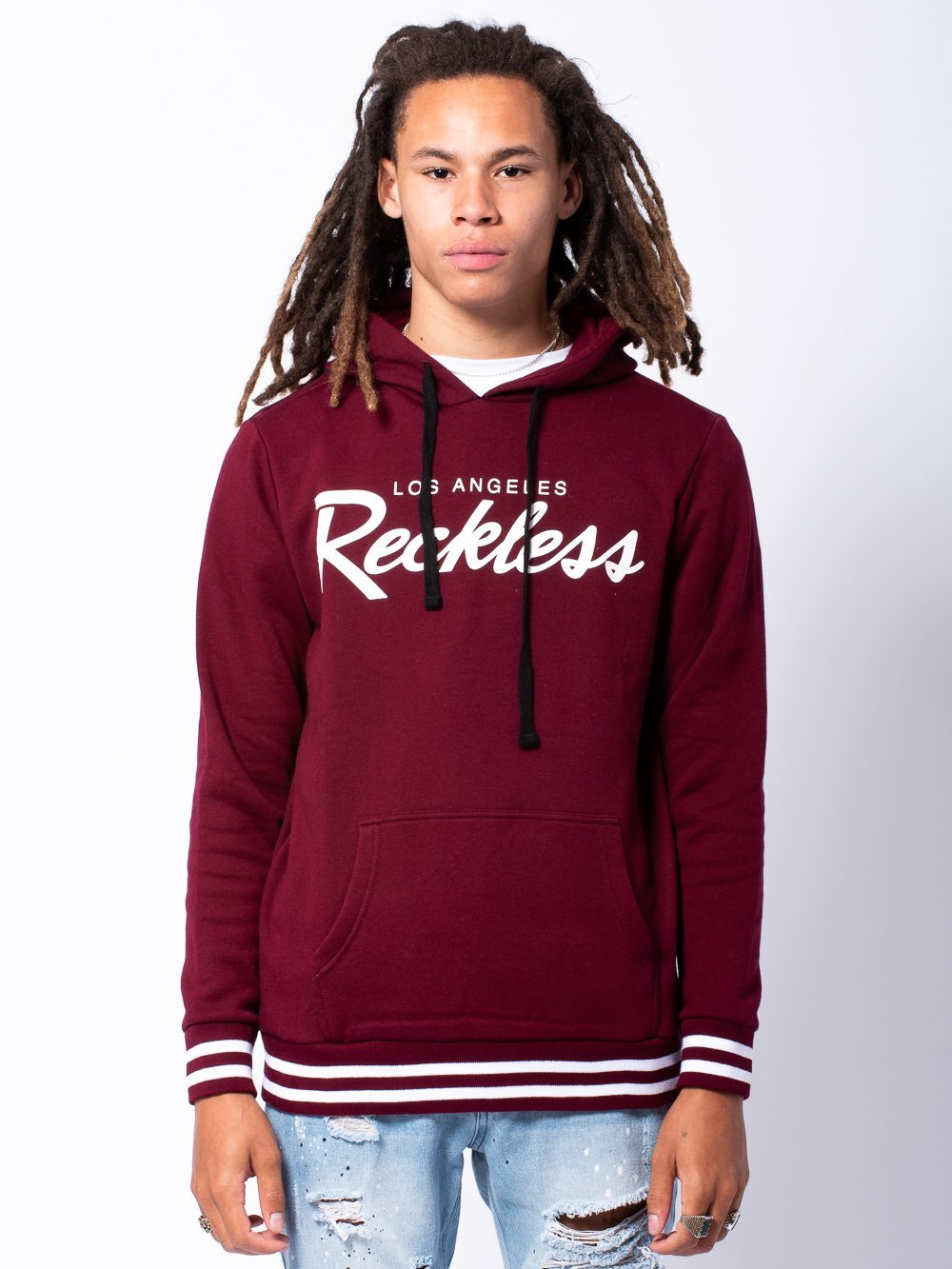 Young and Reckless Mens - Tops - Hoodies OG Reckless Hoodie - Burgundy/White