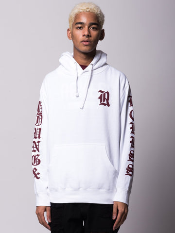 Young and Reckless Mens - Tops - Hoodies Sovereign Hoodie - White/Burgundy