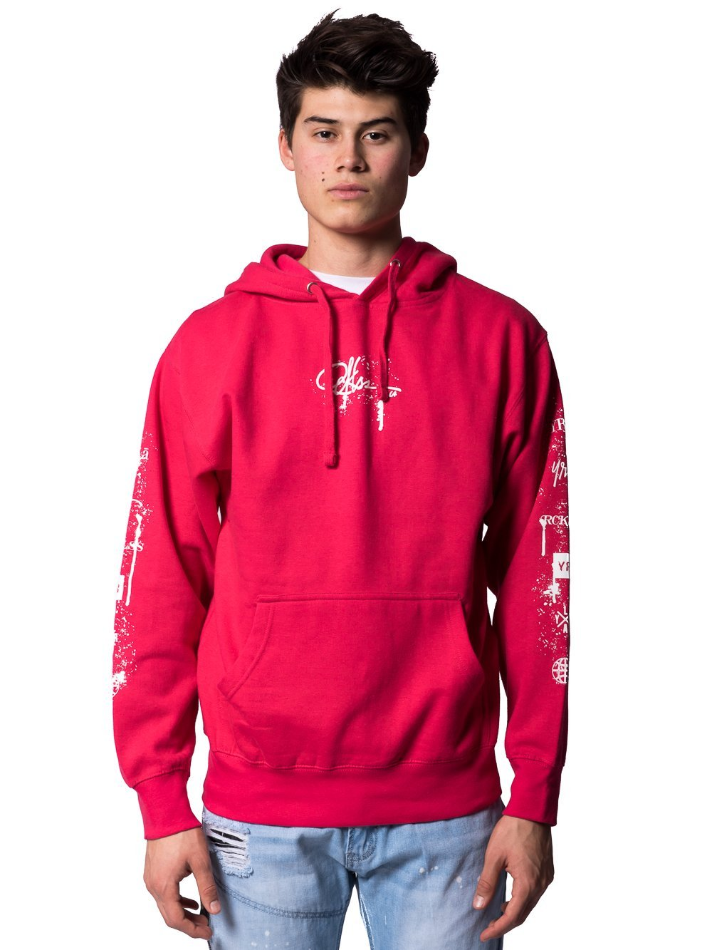 Young and Reckless Mens - Tops - Hoodies Spatter Signature Hoodie - Pink