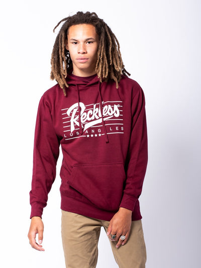 Young and Reckless Mens - Tops - Hoodies Speed Lines Hoodie - Burgundy