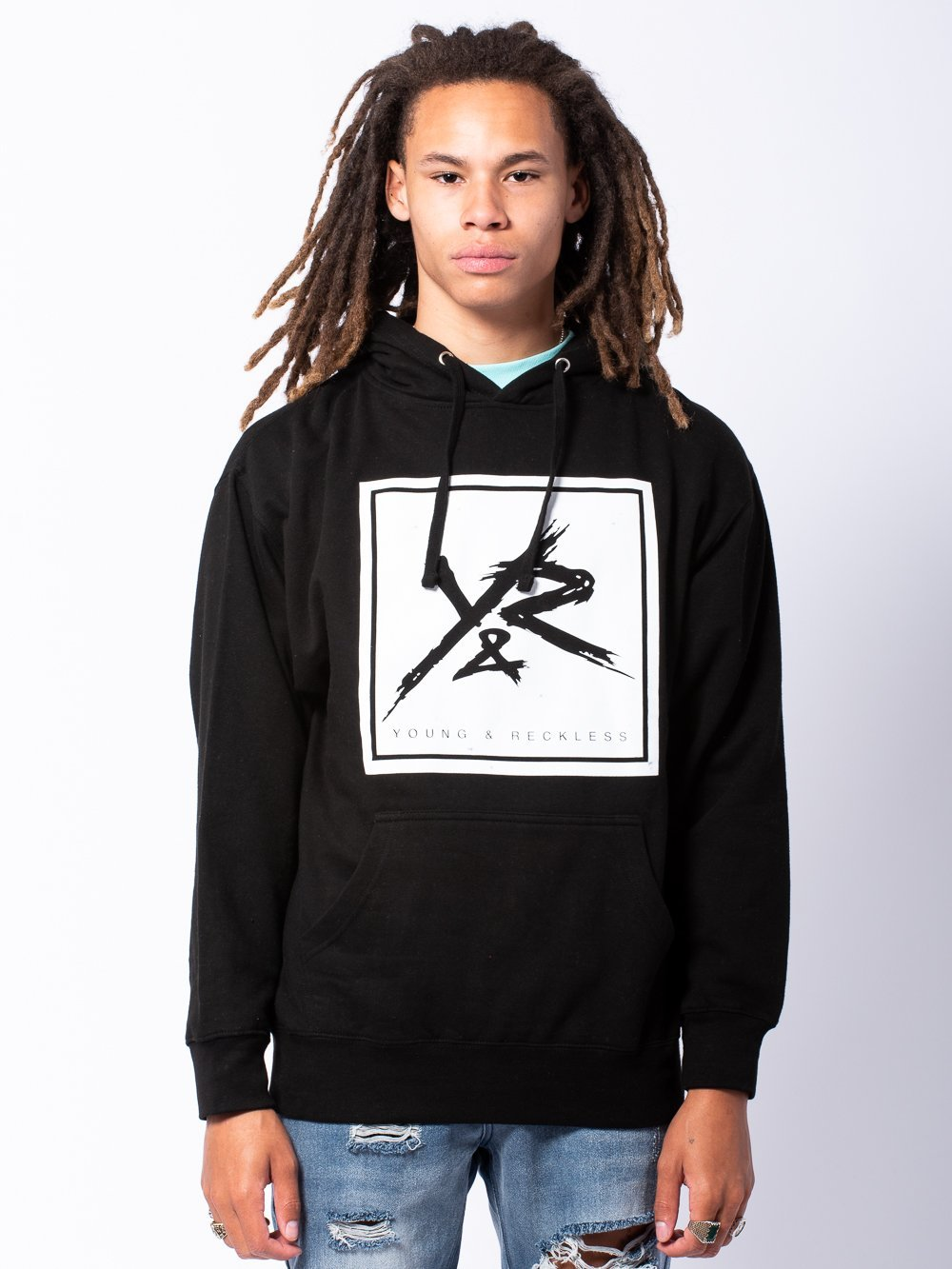 Young and Reckless Mens - Tops - Hoodies Square Hoodie - Black/White