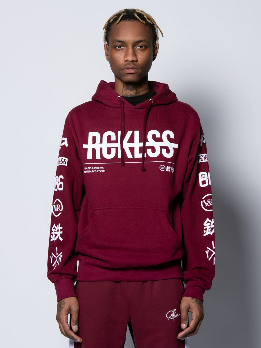 Young and Reckless Mens - Tops - Hoodies Strike Thru Hoodie - Burgundy S / BURGUNDY